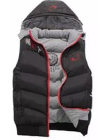Wholesale Padded Hat - NK Winter Mens Vests Coats Outerwear Cotton Padded Vests men Sport coat Hooded Padded Size for XL-4XL 3 Colors 2017 Winter Wholesale sales.