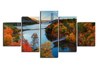 Wholesale Bridge Life - 5 Panels HD Autumn Landscape Bridge Picture Decor Pictures Wall Art Picture Digital Art Print Canvas Printed Picture for Living Room
