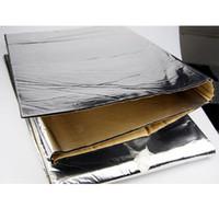 Wholesale Hood Material - Wholesale- 140cm x100cm Car Hood Engine Firewall Heat Mat Deadener Sound Insulation Deadening Material Aluminum Foil Sticker