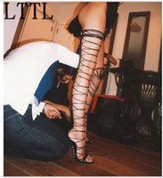 Wholesale open toe boots stiletto resale online - Rihanna Fashion gladiator thigh high sandal boots summer sexy lace up Peep Toe sandals over the knee sandalias
