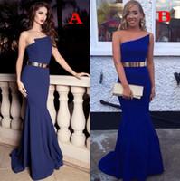 Wholesale Golden Elegant Dresses - Elegant Strapless Mermaid Long Evening Dresses 2018 Newest Backless Royal Blue Bridesmaid Dress Prom Gowns with Golden Belt