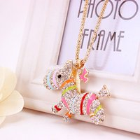 Wholesale Ladies Sweater Beautiful - 2017 Creative Gem Jewelries Beautiful Necklaces For Lady Full Drink Sweater Chains Lovely Horse Pendant Top Quality Gift Wholesale