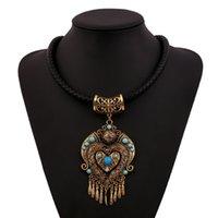 Wholesale Choker Findings - Wholesale- Find Me 2017 brand boho maxi necklace pendants power gem vintage ethnic collar choker statement necklace women Jewelry wholesale