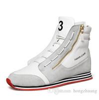 Wholesale Zipper Shoes For Men - Hot Trendy High Top Mens Walking shoes Genuine Leather Fashion Men Casual Shoe Zipper Lace-Up Y-3 Joker Cortez Shoes For Men sports shoes