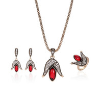 Wholesale Tulip Rings Jewelry - Women's Wedding Bridal Jewelry Set Fashion red Crystal tulip Necklace earrings Rings 3PC Flower Jewellery Set Wholesale