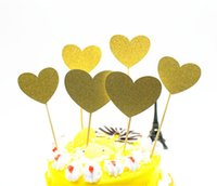 Vente en gros-6pcs / lot Creative Love Heart Cake Flag Topper Simple Stick Flags Multi Colors pour mariage Birthday Party Cake Baking Supplies