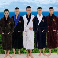 Wholesale Black Terry Robe - Plus size XL Men's terry bathrobes 100% cotton thickening toweled men bathrobe thickening lovers long soft robe autumn winter