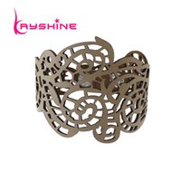 Wholesale Colorful Bracelets For Men - Kayshine New Steampunk Jewelry Colorful PU Leather Hollow out Flower Geometric Wrap Bracelet Wristband For Women Men