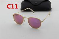 Wholesale Hexagon Mirrors - 1pcs New Brand Designer High Quality Gold Hexagon Glass Lens Sunglasses Fashion Men's Gold Frame UV400 Fashion Sunglasses
