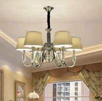 Dining Room Fabric Chandeliers Canada   Modern Popular Design Metal  Chandelier With Fabric Shad Pendnat Lamp