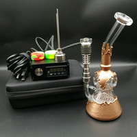 Wholesale Copper Functions - E Digital Nail Kit contain Ti Qtz nail fit flat 10mm&16mm&20mm coil heater with copper plating water pipe honeycomb perc functions oil rigs