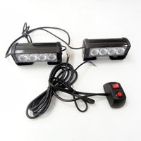 Wholesale Strobe Lights Waterproof - 2*4 LED Strobe Lights for Trucks Jeep SUV Cars 12V Universal Amber Waterproof Emergency Car Light
