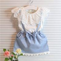 Wholesale Korean Frocks - 2017 trend korean children clothing fake 2pcs clothing set girl child frocks kids dresses 5 years