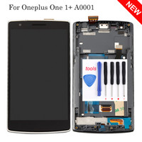 Wholesale resistive lcd touch - Wholesale- For Oneplus One 1+ A0001 LCD Display + touch screen with digitizer assembly + Bezel frame + Tools , black replacement part