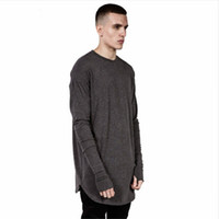 Wholesale Thumbs Cuff - Mens Hip Hop T Shirt full Long Sleeve T-Shirt With Thumb Hole Cuffs Tees shirts Curve Hem Men Street Wear Tops