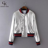 Wholesale Trendy Long Jackets - Wholesale- Stylish Metal Textured Golden Silver Bright Bomber Pilots Jacket Coat Trendy Women Contrast Color Side Long Sleeve Outerwear Top