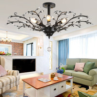 Wholesale Modern Hotel Chandelier - Tree Branch Pendant Lamps K9 Crystal Chandeliers Nordic Country Style E14 Crystal Pendant Lamp LED Ceiling Light Chandelier Lighting Fixture