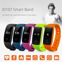 Wholesale Heart Bangle Watches - ID107 Smart Bracelet Bluetooth Band Bangle Heart Rate Monitor Wristband Fitness Tracker Sports Smartband Watch for Android 7.1 iOS
