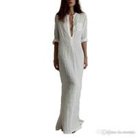 Wholesale Summer Sexy Maxi Dresses - Fashion Vestidos 2016 Summer Women Sexy Dress Long Sleeve Deep V Neck Linen Split Solid Long Maxi Dress Plus Size free shipping
