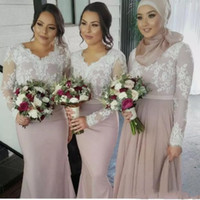 Wholesale laced nude bridesmaid dresses - White Lace Nude Long Sleeves Bridesmaid Dresses Muslim Arabic Women Formal Gowns Plus Size Mermaid Wedding Party Dress