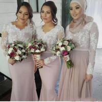 vestidos de dama de honor blancos musulmanes al por mayor-Blanco de encaje desnudo de manga larga vestidos de dama de honor musulmán mujeres árabes vestidos formales más tamaño sirena boda vestido