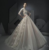 Wholesale Colorful Beaded Plus Size Dress - three quater sleeves beaded lace wedding dresses 2018 Ersa Atelier bridal gown high neckline chapel train