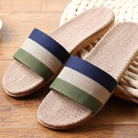 Venda Por Atacado - New Sale Linho Slipper Lover Summer Style Floor Nonslip Indoor respirável Indoor Slippers Men Women Shoes Linho Striped Bedroom Shoes