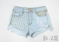 Wholesale Sexy High Waisted Hot Pants - Women's Fashion Brand Vintage Tassel Rivet Ripped Loose High Waisted Short Jeans Punk Sexy Hot Woman Denim Shorts