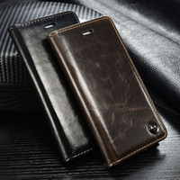 Wholesale Wholesale Crazy Horse Leather Bags - PU Wallet Case Crazy Horse Line Kickstand Card Holder Flip Cover Max Oil Leather For iPhone 7 6 6s Plus Huawei p8 lite OPP BAG