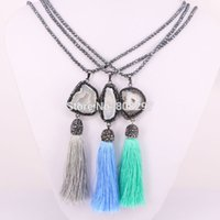 Wholesale Necklace Hematite - 5Pcs Black hematite beads necklace Pave rhinestone Nature Druzy Geode Stone with Tassel Charms Pendants