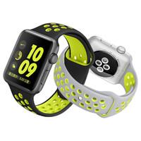 renkli lastik bantlar toptan satış-42mm 38mm 40 MM 44 MM S L boyutu ucuz kauçuk Silikon Renkli bilek bandı Apple İzle bantları için Kayış Spor Bilezik iwatch Serisi için 4 3 2 1