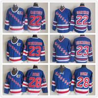 herren v-ausschnitt großhandel-New York Rangers Hockey-Trikots für Herren 22 Mike Gartner 23 Jeff Beukeboom 28 Krawatte Domi Royal V-Ausschnitt 91-92 75. Jubiläum Blue Jersey