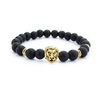 Wholesale China Yoga - New 8 mm black Lava Stone Beads Natural Stone Bracelet, Men Jewelry Stretch Yoga lion head Bracelet wholesale 2color gold silver