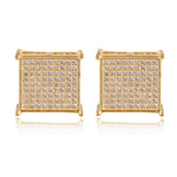 Wholesale Men White Gold Diamond Earring - 2017 new fashion Man women Stud Earrings yellow gold filled AAA+ Cubic Zircon diamond Micro Paved square Earrings wedding jewelry