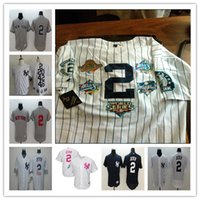 Wholesale New Hit - 2 New York Derek Jeter Jersey Gray White Pinstripe Five World Series Champions 5X 3000 hits Retirement patch Throwback NY Yankees Jerseys