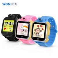 Wholesale Baby Positioning - Wholesale- Wonlex 3G WCDMA Smart Kids Wristwatch GPS Watch Tracker LBS GPS Wifi Positioning with Rotatable Camera Baby Watch