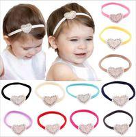 Wholesale girls hand accessories online - Baby Headbands Shiny Rhinestone Girls Kids Hand made Elastic Heart Shape Hairband Party Wear Children Hair Accessories KHA143