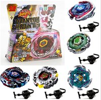 Wholesale Double Power - Beyblades Launchers Constellation gyro Hand top emitter Assembly explosion 4D Launcher Alloy Metal Master Fight Double Black Power 4 45ry H1