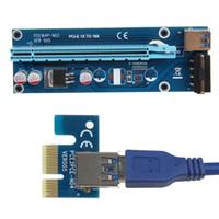 extensor pci 1x 16x al por mayor-En existencia PCI-E PCI E Express 1X a 16X Tarjeta vertical + Cable extensor USB 3.0 con fuente de alimentación para Bitcoin Litecoin Miner 60CM