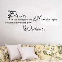 Wholesale Decorative Wall Wording - AW9183 Praise Is Ilde Sunlight Quote Sticker Home Decor English Words Wall Stickers Parede Removable Decorative Home Decals