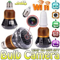 Wholesale Wireless Dvr Cctv Cameras - Light Bulb Spy Cam IR Night Vision WIFI IP P2P Lamp Full HD Hidden Wireless Camera H.264 Mini DVR CCTV Security Camera