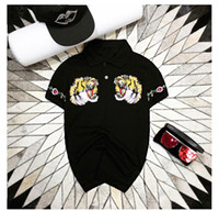 Wholesale Cheap American Shirts - 2017 summer men's short sleeve t shirt tiger head embroidery cheap mens polo t shirts