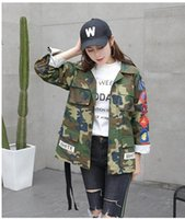 Wholesale Striped Sticker - HOT SELL ! OFF WHITE jackets camouflage embroidery stickers striped letters couple jacket men and women jacket