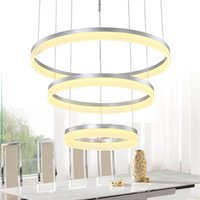 Wholesale circle pendant light - 1 2 3 Rings Circles Modern LED Pendant Light for Dining Room Living Room White Acrylic LED Pendant Lamp Contemporary Chandelier Lighting