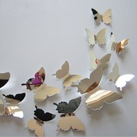 Wholesale 3d Mirror Butterflies - 12pcs set New Arrive Mirror Sliver 3D Butterfly Wall Stickers Party Wedding Decor DIY Home Decorations