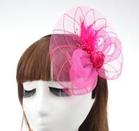feder schleier haar großhandel-New Style Veil Feder Frauen Haarschmuck Fascinator Hut Cocktail Party Hochzeit Kopfschmuck Gericht Headwear Dame