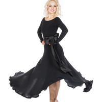 ingrosso abito nero nero-New Elegant Ballroom Dance Dress Modern Waltz Standard Competition Vestito nero + Cintura M11