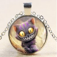 Wholesale Alice Wonderland Charm - 10pcs Alice in Wonderland Chain Necklace,Christmas Birthday Gift,Cabochon Glass Necklace Silver Bronze Black Fashion Jewelry Pendant A398
