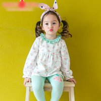 Wholesale Girls Apple Outfit - Fashion Korean Girls Homewear Sets Peach Apple Printed Shirt and Leggings Cartoon Pants 2pcs Set Princess Girl Cotton Outfits Sets A6476