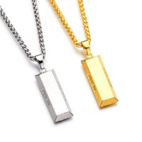 Wholesale Gold Bricks - Fashion Luxurious Gold Silver Brick Necklace Hip Hop alloy necklace&pendants High quality jewelry for Men Women